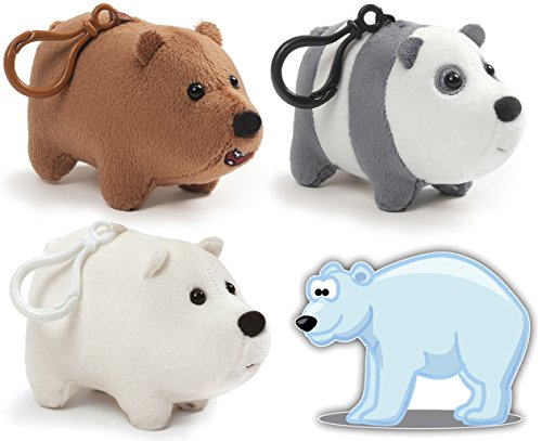 Gund We Bare Bears Mini Backpack Clips Plush Bears: Ice, Panda, Grizz Set of 3 and Bonus Polar Bear Sticker