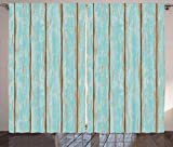 coastal living rooms Lunarable Wood Print Curtains, Old Fashioned Weathered Rustic Planks Summer Cottage Beach Coastal Theme, Living Room Bedroom Window Drapes 2 Panel Set, 108 W X 84 L Inches, Pale Blue Tan