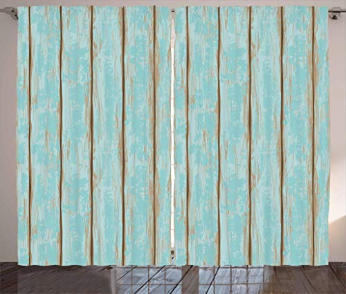 Lunarable Wood Print Curtains, Old Fashioned Weathered Rustic Planks Summer Cottage Beach Coastal Theme, Living Room Bedroom Window Drapes 2 Panel Set, 108 W X 84 L Inches, Pale Blue Tan