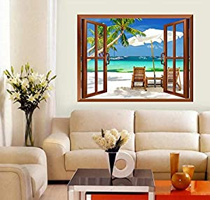 "wall26 Tropical Beach Scenery Removable Wall Sticker/Wall Mural - 24""x32"""