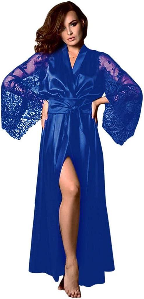 Blustercool Satin Robe Chemise De Nuit Long Peignoir De Bain Satin Soie Femme V/êtement De Nuit Pyjama Robe De Nuit en Satin Robe De Chambre Ceinture Femme Satin Lingerie Dentelle Peignoir