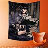 Auraisehome Customed Widened Tapestry Portrait of a Beautiful Steampunk Woman Over Vintage Wall Hanging Tapestry 54W x 84L INCH