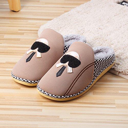 Las En Casa La De Algodón Xing Nuevas Rápido Zapatillas Mitad pink Con Guang Dibujos Animados Ciervo Brown qYY6O