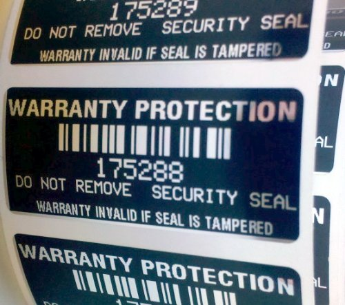 100 Black High Security Tamper Evident Warranty Void Labels/Stickers w/ Unique Sequential Serial Numbering and Bar Code (Tamper Labels compare prices)
