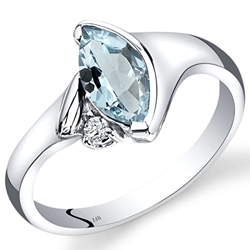 14K White Gold Aquamarine Diamond Ring Marquise Bezel Set 0.78 Carats Total