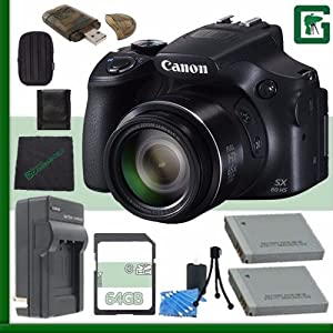 Canon PowerShot SX60 HS Digital Camera with Wi-Fi Black + 64GB Green's Camera Bundle