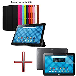 "YHC Colour Pink Hard Holder Leather Cuero Case Cover cubierta de la caja +Film F 10.1"" Acer Iconia One 10 B3-A10 Tablet"
