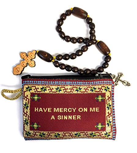 Religious Gifts Wooden 30 Knots Prayers Beads With Tapestry Jesus Prayer Pouch Keepsake Holder 4 1/4 Inch