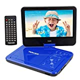 TENKER 12.5' Portable DVD Player, Built-in 5 Hours Rechargeable Battery with 10.5' Eyesight Protective HD Swivel Screen, Support USB/SD Card Memory Readers , Regions Free, Blue