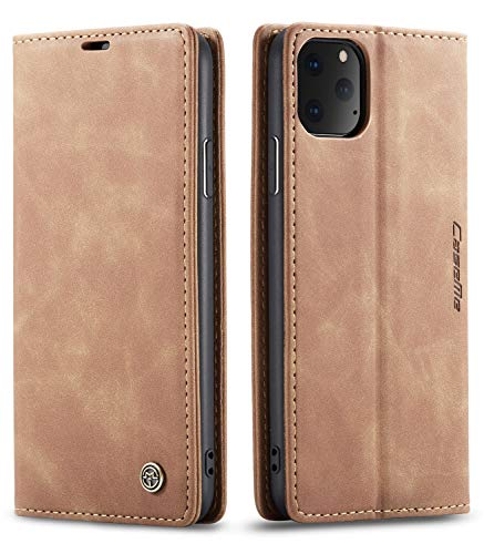 SINIANL iPhone 11 Pro Max Wallet Case iPhone 11 Pro Max Leather Case Book Folding Flip Case with Kickstand Credit Card Slot Magnetic Closure Protective Cover for iPhone 11 Pro Max 2019 6.5 - Brown (Book Cover Iphone Case)