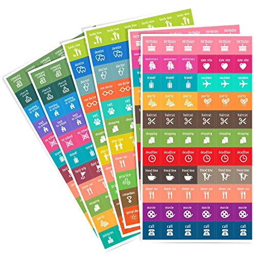 Calendar Activity Stickers - Cute Designs, Homework2 - Calendars Events Planner Stickers, Pack of 396