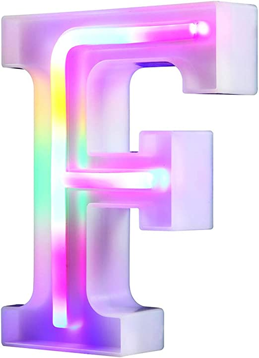 WARMTHOU Neon Letter Lights 26 Alphabet Letter Bar Sign Letter Signs for Wedding Christmas Birthday Partty Supplies,USB/Battery Powered Light Up Letters for Home Decoration-Colourful F