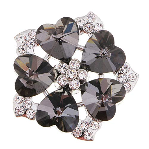 DIY Alloy Rhinestone Flower Shank Button for Bridal Dress Costume Decoration (Color - 3cm Black and White) -
