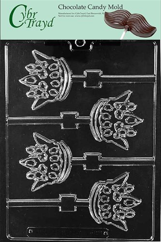 Cybrtrayd Life of the Party K156 King Kingdom Crown Lolly Chocolate Candy Mold in Sealed Protective Poly Bag Imprinted with Copyrighted Cybrtrayd Molding -