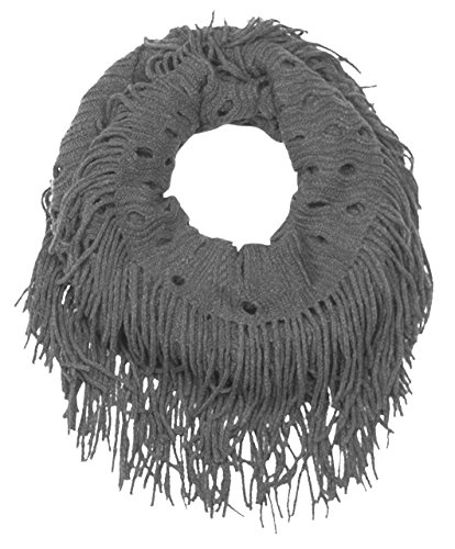 Peach Couture Warm Bohemian Crochet Hand Knitted Fringe Infinity Loop Scarf Wrap Grey Knit