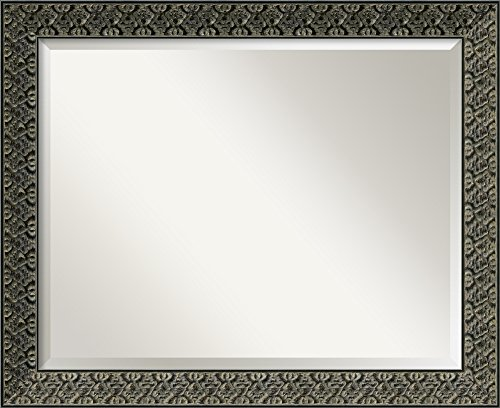 Amanti Art Framed Intaglio Embossed Black Solid Wood Wall Mirrors, Glass Size 28x22,