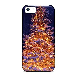 Brand New 5c Defender Case For Iphone (lit Christmas Tree In Snow)