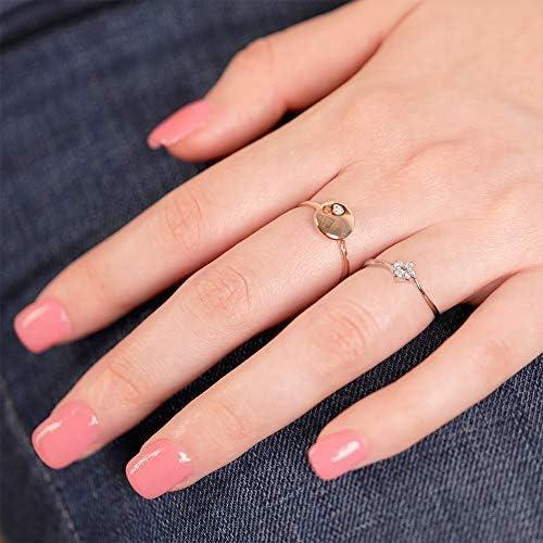 Petite Disc Fashion Diamond Ring 14K White Gold