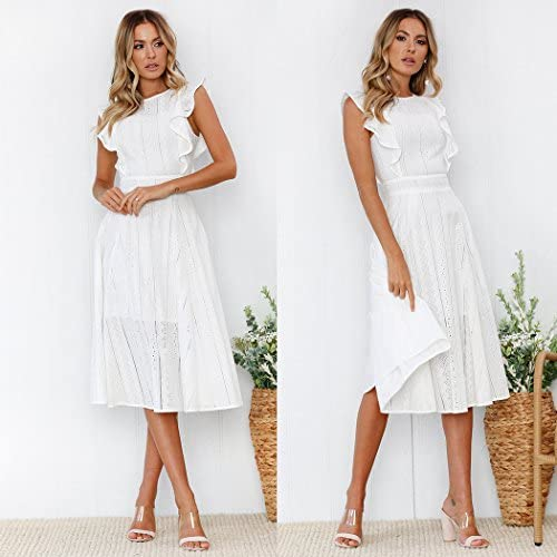 ECOWISH Womens Dresses Elegant Ruffles Cap Sleeves Summer A-Line Midi Dress 2