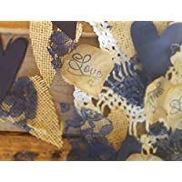 Burlap and Lace Silk Rose Petals Rustic Wedding Confetti in Navy Blue