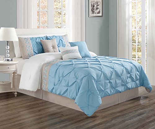7 Piece Set Bed Linens (7 Pieces FULL size LIGHT Blue / Grey / WHITE Double-Needle Stitch Pinch Pleat All-Season Bedding-Goose Down Alternative Embroidered Comforter Set)