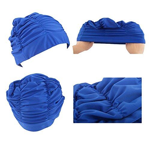 Women Men Drape Elastic Swimming Cap Hat for Dreadlocks Long Hair Summer  MML