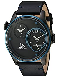 Joshua & Sons Dual Time Zone Blue Accented Black Dial and Blue Bezel with Genuine Leather Black Strap Watch JX118BKBU