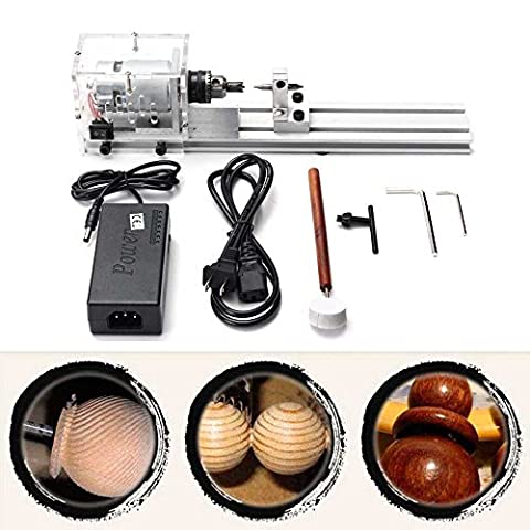 Mini Lathe Beads Machine Polisher Table Saw Mini DIY Wood Lathe Cutter with Adapter (Commercial Wood Lathe)