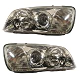 2004-2005 Hyundai XG-350 XG350 Headlight Headlamp Composite Halogen (non-HID, without Xenon) Front Head Light Lamp Set Pair Left Driver And Right Passenger Side (04 05)