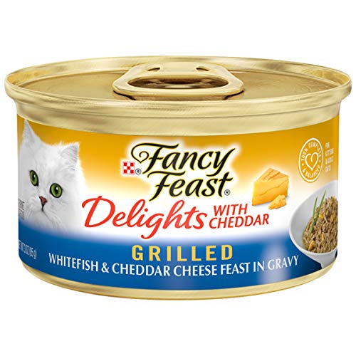 Purina Fancy Feast Gravy Wet Cat Food; Delights Grilled Whitefish & Cheddar Cheese Feast in Gravy - (24) 3 oz. Cans