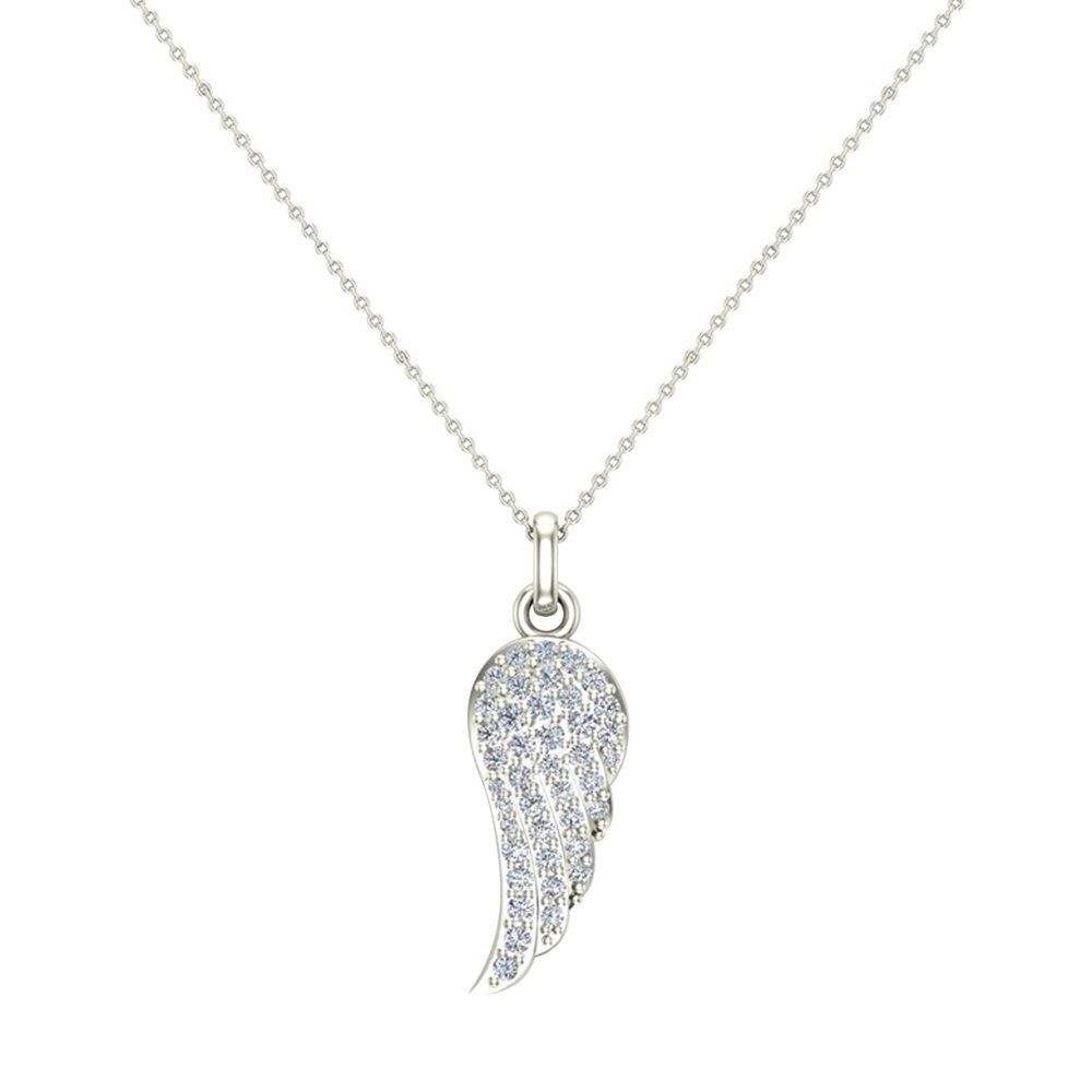 0.47 ct tw Angel Wing Diamond Pendant Necklace 14K White Gold