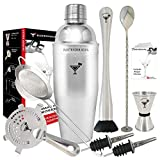 Full Professional Cocktail Set by BARTENDER SOUL - 25oz 0.8mm Bar Shaker Kit with Built-in, Hawthorne and Filter Strainers, Jigger, Muddler, Spoon, Pourers and Recipes - Real Quality Stainless Steel