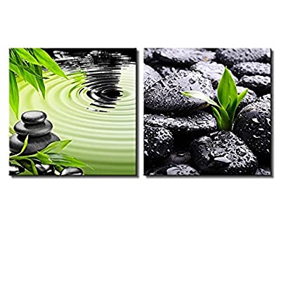 Two Piece Canvas - Rocks Over Bamboo by a Lake and Rocks with Raindrops on 2 Panelsb - Canvas Art Home Art - 12x12 inches