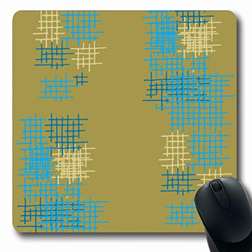 (LifeCO Computer Mousepad Grid Blue Chaos Lattice Abstract Pattern Check Cross Crossing Drawn Geometric Design Oblong Shape 7.9 x 9.5 Inches Oblong Gaming Non-Slip Rubber Mouse Pad Mat)