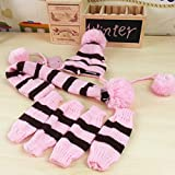 USfafa Winter Knitted Hat Pom Pom Scarf Clothes And Leg Warmers Set