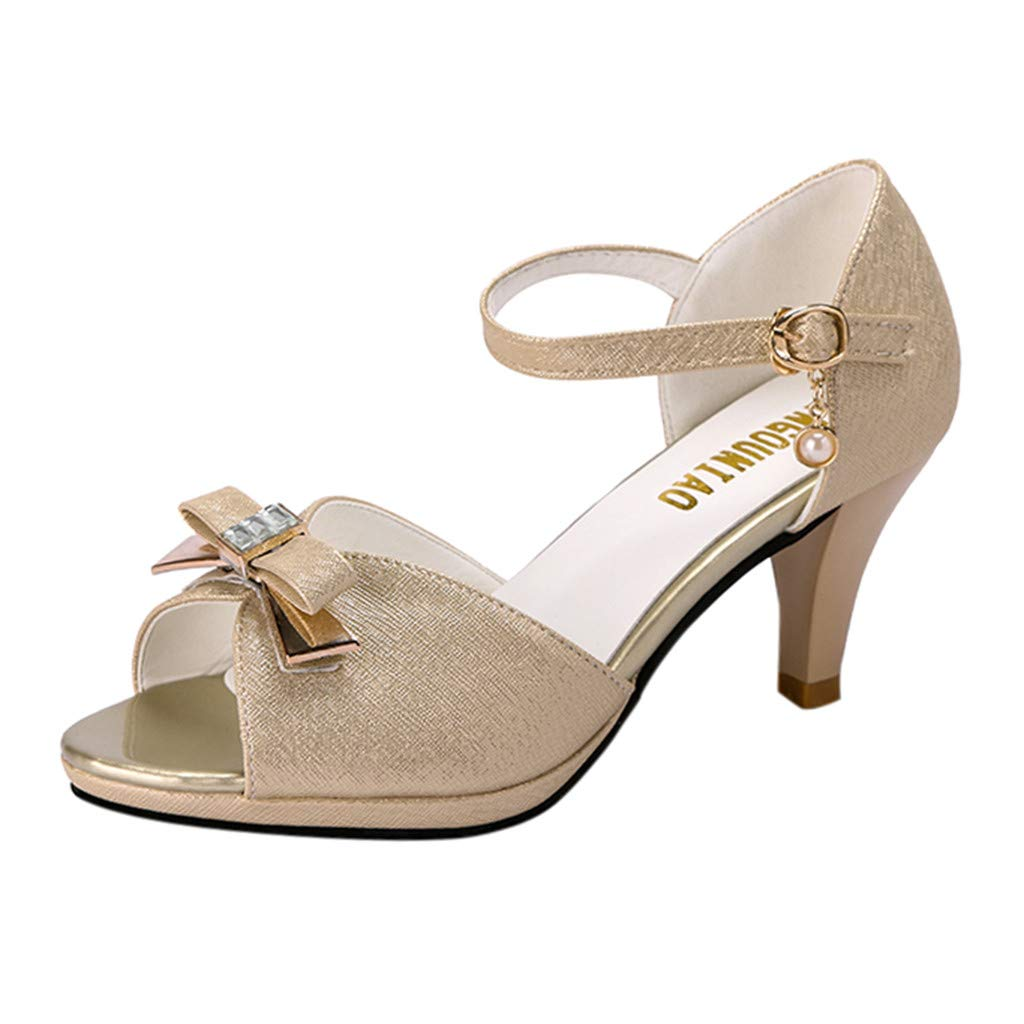 ZOMUSAR Ladies Shoes, Women Summer Fashion Peep Toe Butterfly Knot Causal Single Shoes Sandals Gold by ZOMUSAR (Image #1)