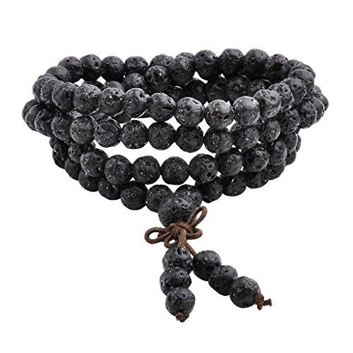 Jovivi 6mm Natural Lava Rock Stone Healing Gemstone 108 Prayer Beads Mala Bracelet Necklace