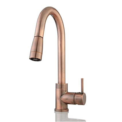 Naiture Finite Single Hole Single Handle Kitchen Sink Faucet With Pull Out  Sprayer Swivel Spout And Spray Control, Antique Copper     Amazon.com