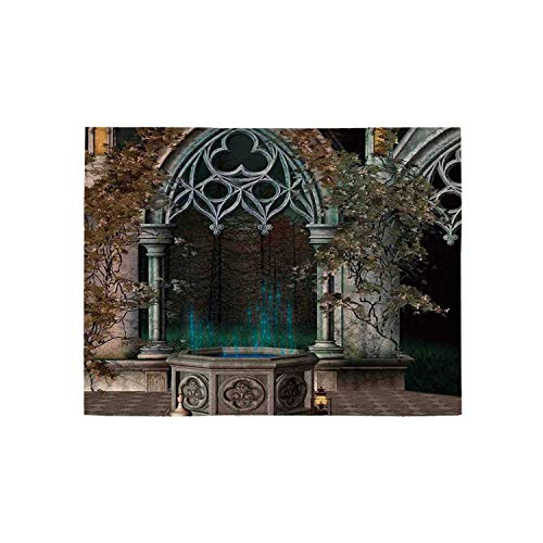 Gothic Utility Area Rug,Mystical Patio with Enchanted Wishing Well Ivy on Antique Gateway to Magical Forest for Home,60