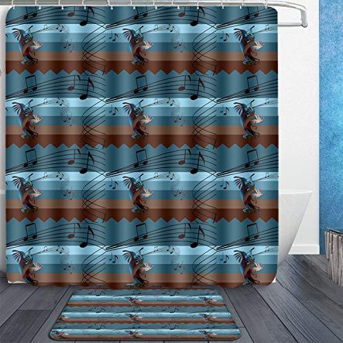 MAHENSHANGM Kokopelli Southwest Music Musical Note 2 Set Bathroom Set 60X72in Shower Curtain 18x30in Bath Mats Floor Doormat Rugs