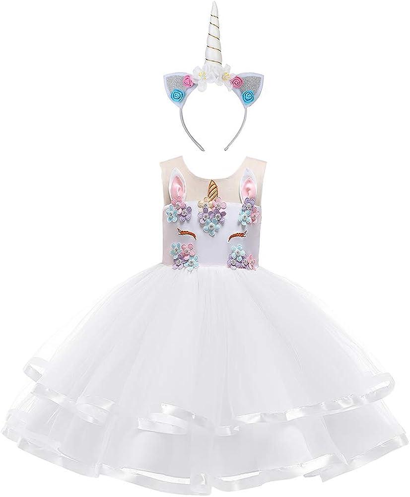 Einhorn Costume per Bambini Arcobaleno Vestito Unicorno Rivestimento Bambino