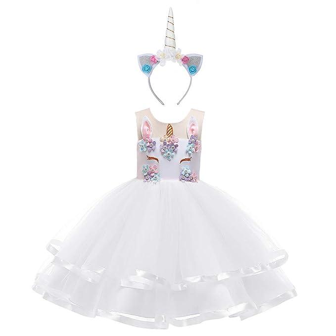 8af68a62cd1d OBEEII Unicorno Costume Carnevale Bambina Abito Principessa Vestito da  Ragazza Festa Halloween Natale Cerimonia Abiti Partito 2-12 Anni:  Amazon.it: ...