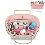 YOOXI Inner Zipper Pocket Felt Insert Bag Organizer Bag In Bag For Handbag with Key Chains Pink Medium