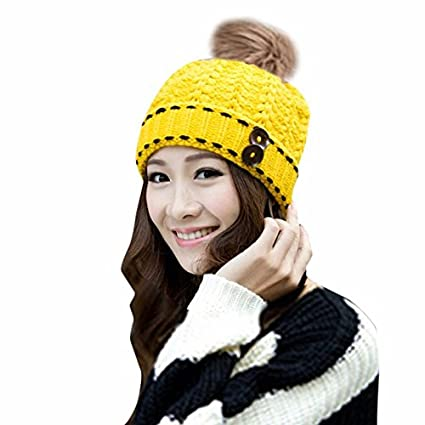 ed38b9f6b59 Amazon.com  2017 Autumn Winter Hat Female Fashion Casual Faux Rabbit Fur  Ball Knitted Wool Cap for Women Girls Ladies Warm Beanies Cap (Yellow  Color)  ...