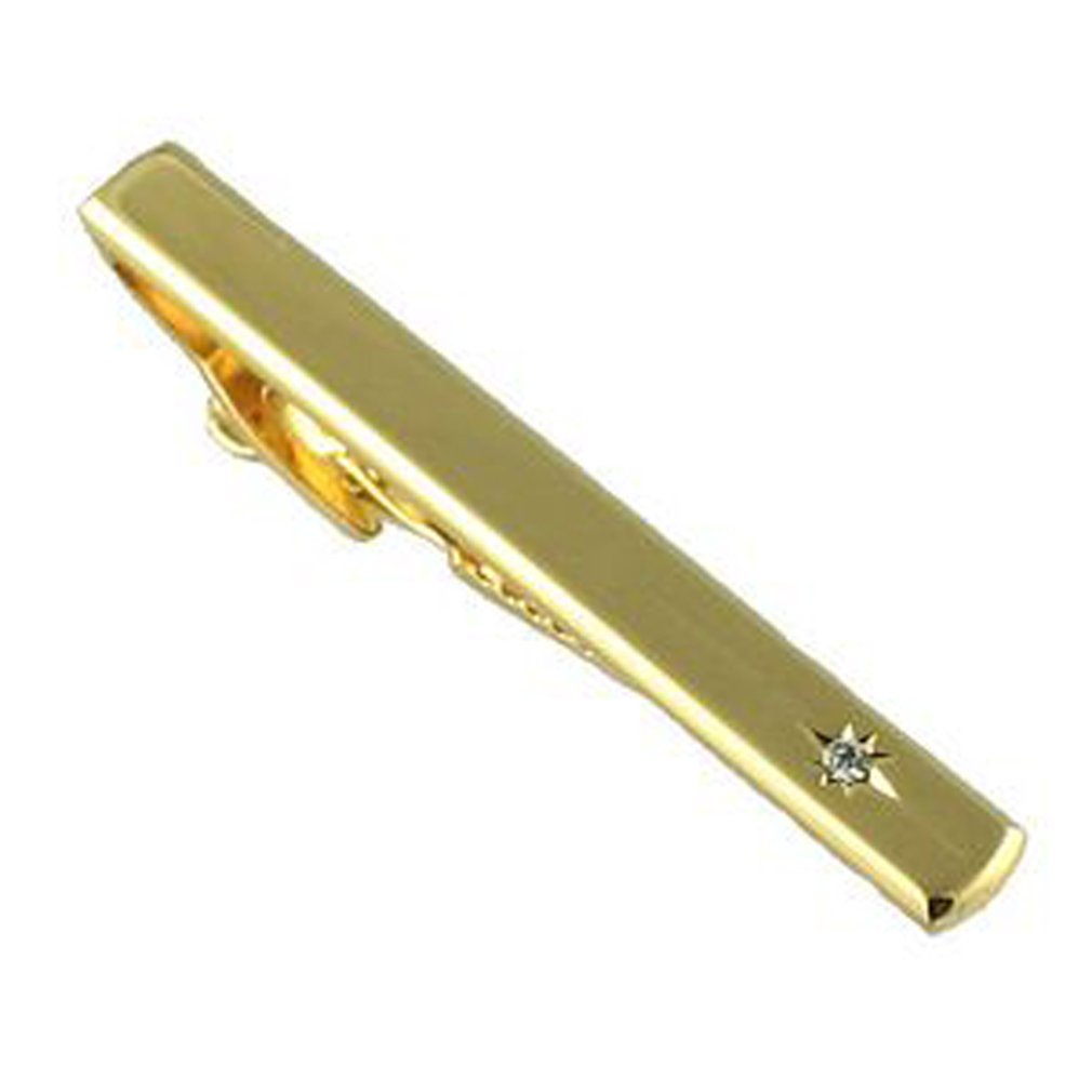 Acoustic Guitar Gold-tone Cufflinks Crystal Tie Clip Gift Set