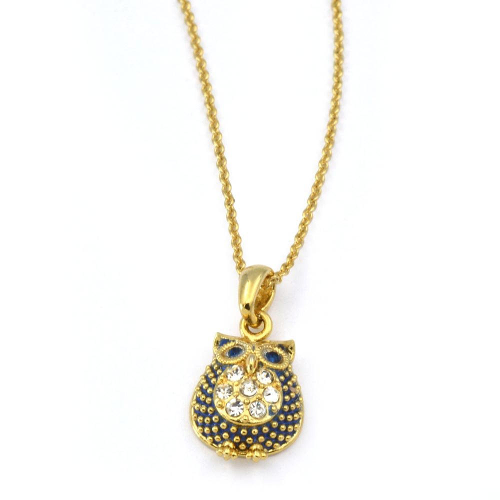 Small Petite Minimalist Hand Painted Gold Plated Jewelry RSN4588 Owl Brass Necklace