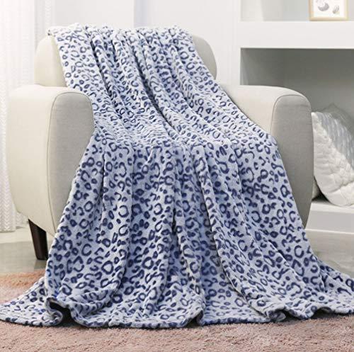 FY FIBER HOUSE Flannel Fleece Throw Blanket, Lightweight Cozy Plush Microfiber Bedspreads for Adults,60 by 80-Inch,Blue Leopard (Blanket Plush Leopard)