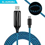 Micro USB Cable Android Charger 3ft, EL-AURORA Visible Flowing LED Neon Light Fast Sync&Charger Cable Cord for Samsung, Kindle, HTC, Nexus, LG, Xbox, PS4, Smartphones and More (Black)