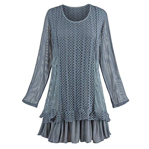 Women's |Juliet Tunic and Scarf Set - Textured Knit Long Sleeves- Gray - (Flouncy Scarf)
