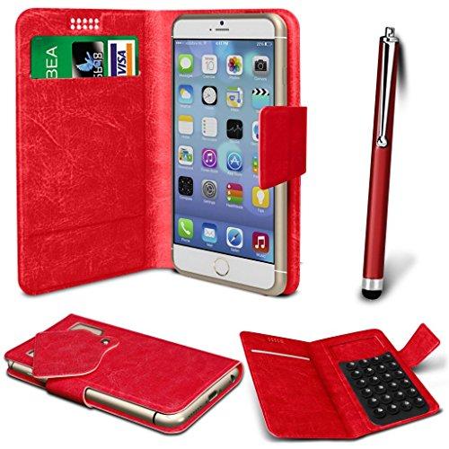 N4U Online® - Apple iPhone PU aspiration en cuir Wallet Pad Housse & High Sensitive Stylus Pen - Rouge